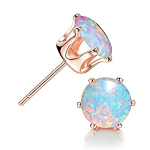Round Opal Earrings Rose Gold Plated 8MM White Opal Stud Earring for Men and Women Girls