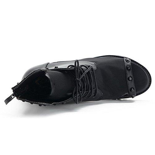 AmoonyFashion Womens Open Peep Toe Low Heel PU Soft Material Solid Sandals with Rivet and Bandage Black lFYejB