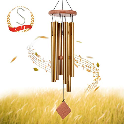 (SuninYo Wind Chimes Outdoor,30'' Amazing Grace Wind Chimes with S Hook,(6 Tubes,Golden))