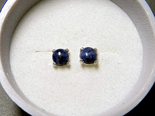 4mm Denim Lapis set in Sterling Silver Post Earrings