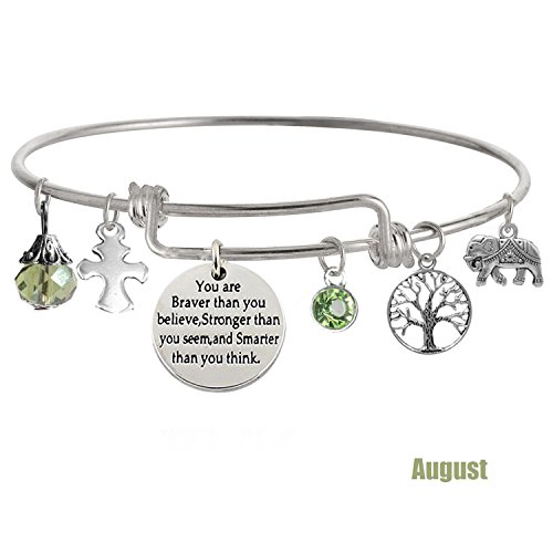 TISDA 'You Are Braver Than You Believe Stronger Than You Seem and Smarter Than You Think' Inspirational Bracelet Expandable Bangle Gift for Women girl (August)