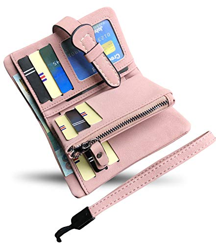 Women's Small Bifold Leather wallet Rfid blocking Ladies Wristlet with Card holder id window Coin Purse (Pink3)