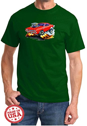 Maddmax Car Art 1971 1972 Plymouth Cuda Cartoon Muscle Car Design Tshirt 3XL Forest