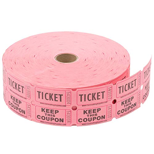 Pink Raffle Tickets - Raffle Ticket: Pink Double Roll of 2000 Tickets (Pink)