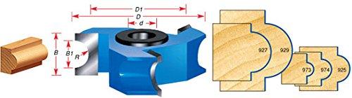Amana Tool 973 Carbide Tipped 3-Wing Bullnose 1/8 R x 1/4 Bead R x 2-5/8 D x 9/16 CH x 1/2 & 3/4 Bore Shaper Cutter