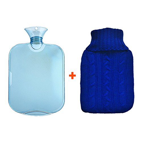 ButlerBasics - Premium Clear Rubber Hot/Cold Water Bottle Bag with Soft Knitted Cover - Big n' Thick 2 Liter - Keeps You Warm! or Cold... (Ice Water Bottle And Hot)