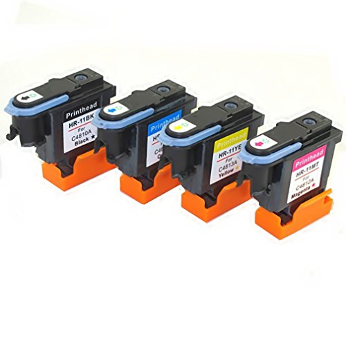 YATUNINK 4 Pack(1 Black/1 Cyan/1 Magenta/1 Yellow) 11 Printer head Replacement 11 Printhead C4810A C4811A C4812A C4813A Work With Designjet 500 500 Plus 500ps(24-42inch)