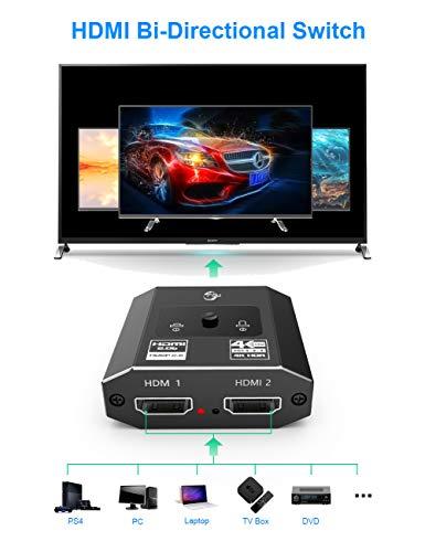 HDMI Switch 4K HDMI Splitter, FSU Aluminum Bi-Directional HDMI Switch Splitter 2 x 1/1 x 2. HDMI 2.0 Switcher 2 Input 1 Output, UHD 3D Compatible for Switch, Xbox, PS4, Roku, HDTV, TV Stick, Monitor
