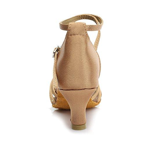 HROYL Zapatos de baile/Zapatos latinos de satén mujeres ES7-F13 5CM Beige