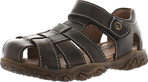 Naturino Boys Gene Casual Fisherman Protective Toe and Closed Back Sandals,Brown,33