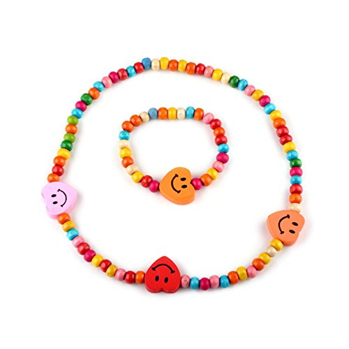Kids Girls Wooden Heart Stretch Colorful Bead Necklace Bracelet Set Accesorries for Costume Play Toddlers Children