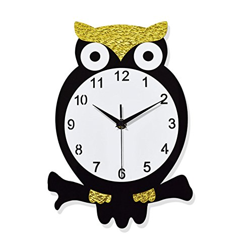 Super Mute Personality Clock Fashion Home Creative Clock Owl Clock Decoration Clocks, 35 24cm by AISSION Wall Clock