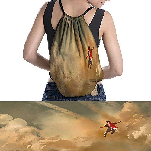 Drawstring Backpack boy flying in the cloudy sky with jet pack rocket W13.7