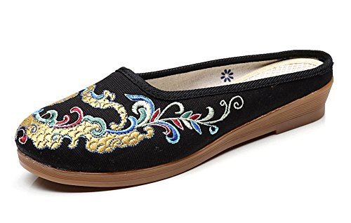 Avacostume Womens Chinois Traditionnel Dragon Broderie Petit Wedge Pantoufles Noir