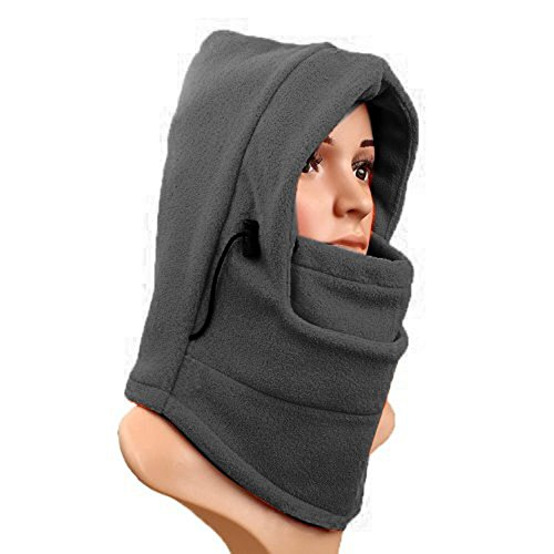 1PCS Unisex Cold Gear Scarf Face Mask Neck Warmer Winter Hat- Hoodie-Double Layer Winter Windproof Bicycle Motorcycle Balaclava Hat Mask Headgear Hat Scarf Velvet Cap (Grey) (Layer Balaclava)