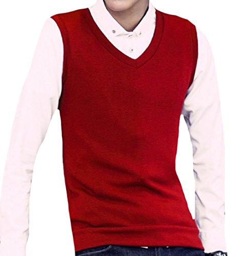 Mfasica Men Fashion Cashmere Original Fit Solid Color Sweater Vest Wine Red 2XL