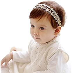 Hatop Lovely Baby GirlsRhinestone Flowers Headband Hairband Hair Accessories (Gold)