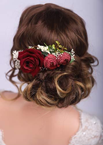Kercisbeauty Red Rose Burgundy Hair Comb for Brides Wedding Bridal Vintage Headband Burgundy Floral Comb Festival Headpiece Women Girls Party