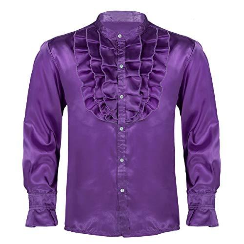Freebily 1970s Mens Disco Night Party Satin Ruffle Button Down Shirt Dance Fancy Dress Costume Purple XX-Large