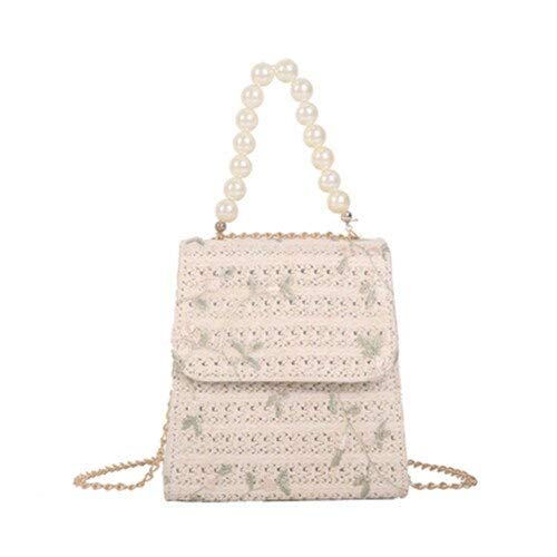 Fashion Pearl Beaded Crossbody Bag for Girls Handmade Straw Casual Beach Bag Flower Embroidery Sweet Shoulder Bag Women Handbag (Beige)