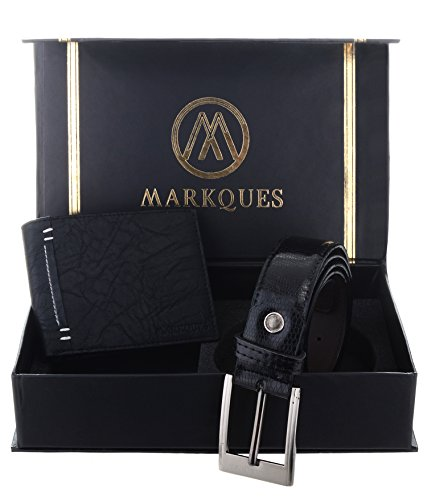 MarkQues Men's Black Leather Wallet and Belt Combo (MAX-2201 CL-01)