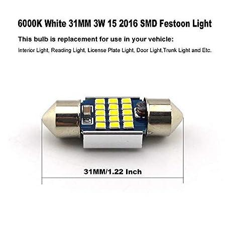 36mm Led D/ôme Lumi/ère ZXREEK 1.42 4W 20-SMD 400 Lumens 6000K Canbus Sans Erreur Navette LED Ampoules pour Lumi/ères de Voiture Int/érieures Porte-Plaque Porte Festoon Pack de 4