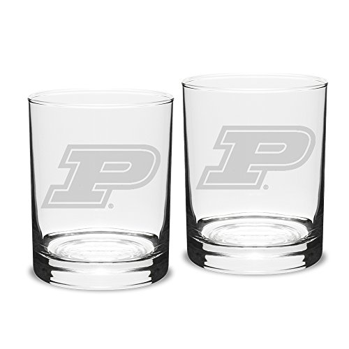 (NCAA Purdue Boilermakers Adult Set of 2 - 14 oz Double Old Fashion Glasses Deep Etch Engraved, One Size, Clear)