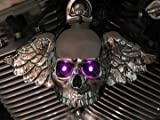 Harley Chrome Plated Winged Skull Horn Cover With LED Eyes. (Green)