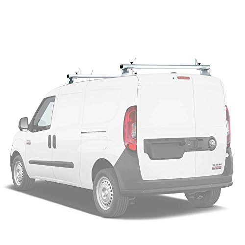 "AA-Racks Model AX302-PR RAM ProMaster City 2015-On Aluminum 2 Bar (50"") Van Roof Rack System With Ladder Stopper White"