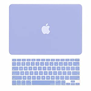 "TOP CASE - 2 in 1 Rubberized Hard Case Cover for MacBook Pro 13.3""(13"" Diagonally) with Retina Display (Old Gen. 2012-2015) Model: A1425 & A1502 and Keyboard Cover - Serenity Blue"