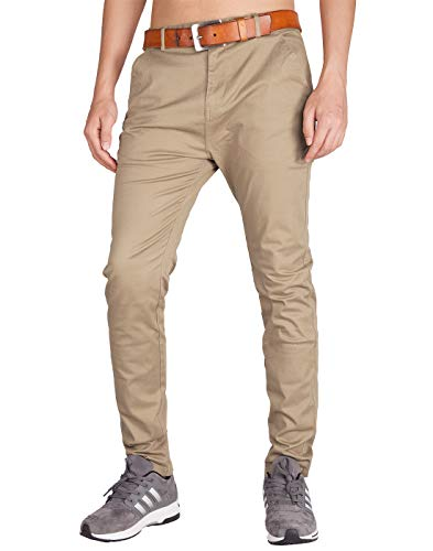 ITALY MORN Men's Chino Flat Front Casual Pants S Khaki