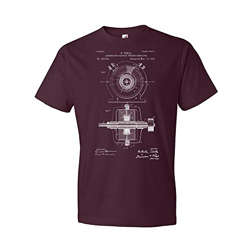 Tesla Alternating Electric Current Generator T-Shirt, Classroom Apparel Maroon