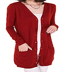 Molif Wool Sweater Medium Long Cashmere Cardigan Women Loose Sweater Outerwear Coat With Pockets Red M