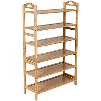 Mics Bamboo 6 Tier Shoe Rack 18 24 Pairs Entryway Shelf Storage Organizer