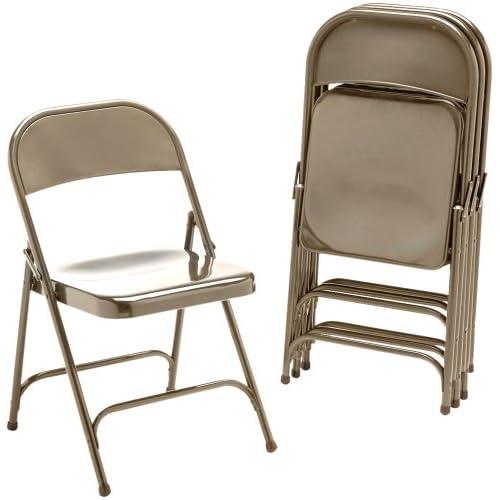 Virco 16213K Metal Folding Chairs, Bronze, Four/carton