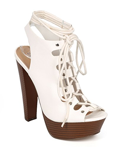 Breckelles CF71 Women Two Tone Leatherette Peep Toe Lace Up Platform Slingback Sandal - White Leatherette (Size: 6.5)