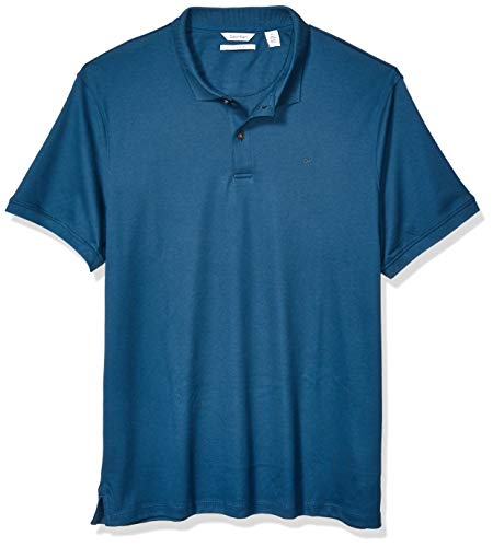 (Calvin Klein Men's Liquid Touch Polo Solid with UV Protection, Majolica Blue Summer, Medium)