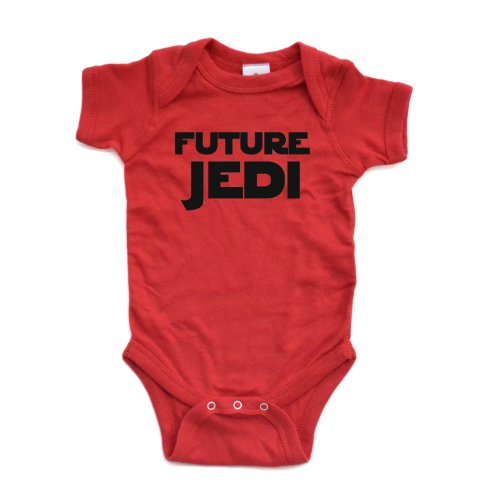 Adorable Future Jedi Soft and Comfy Cute Baby Short Sleeve Cotton Infant Bodysuit (Newborn, Red)]()
