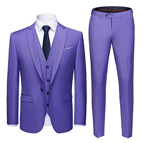 da pezzi festa da nozze giacca fodera per la 3 pantaloni uomo viola e Felpa di UxgS0S