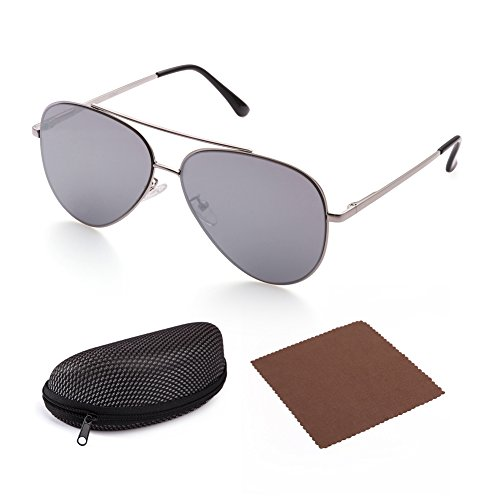Flat Aviator Sunglasses for Men by LotFancy, Grey Mirrored Lens, Silver Metal - Tinted Sunglasses Grey