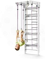WEDANTA Wooden Swedish Ladder Wall Set – Kids Stall Bars for Exercise – Kids Swedish Gymnastic Wall Gym – Wood