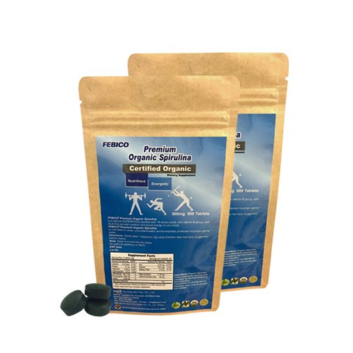 FEBICO Organic Spirulina Tablets. 500 gram. With Enriched Vitamin B12 Complex. by FEBICO