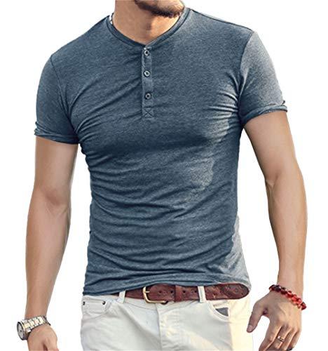 Aiyino Mens Casual Slim Fit Short Sleeve Henley T-Shirts Cotton Shirts US M Acid Blue