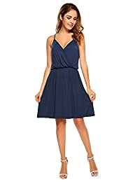 Meaneor Women's Casual Dress Sleeveless V neck Loose Fit Summer Beach Sun Dress