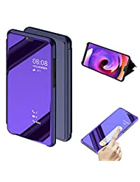 Cistor Huawei P20 Lite Mirror Flip Case,Luxury Purple Clear View Translucent Metal Electroplate Plating Case for Huawei P20 Lite,Shockproof Thin Hard PC Case with Stand Function + 1x Free Ring Holder