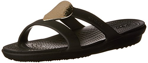 Metallic Embellished (Crocs Women's Sanrah Embellished Sandal, Black/Metallic Silver, 7 M US)