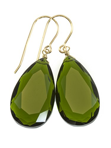 14k Yellow Gold Filled Green Simulated Olive Quartz Earrings Faceted Large Teardrops Simple Briolette Drops