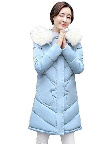 Chiguo Mujer Largas Chaqueta Abrigo con Capucha Artificiales Pelaje Collar Invierno Cálido Chaquetas para Mujer S-XXL Azul