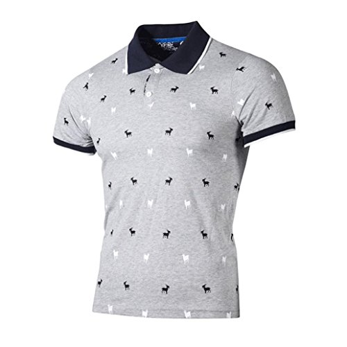 Forthery Men Polo Shirts Summer Tops Short Sleeve Regular-Fit Henley T-Shirt (Gray, US M = Asia L)