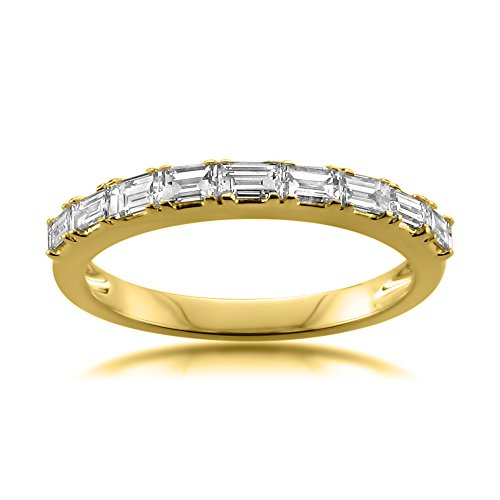 (14k Yellow Gold Baguette Diamond Bridal Wedding Band Ring (1/2 cttw, I-J, VS2-SI1), Size 6.5)